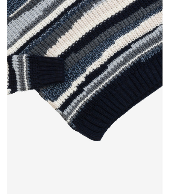 Turtleneck with intarsia in blue
