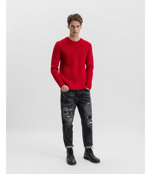 Maglione lavorato in misto lana rosso