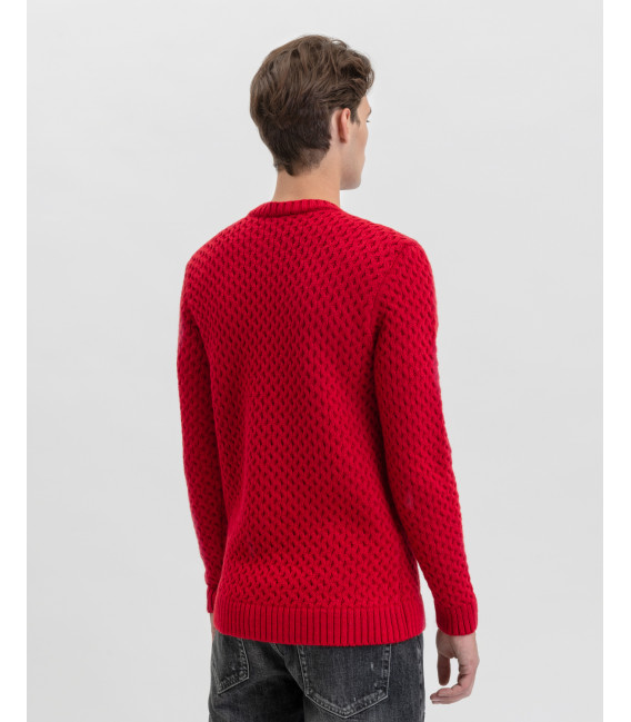 Wool blend knitted sweatwer in red