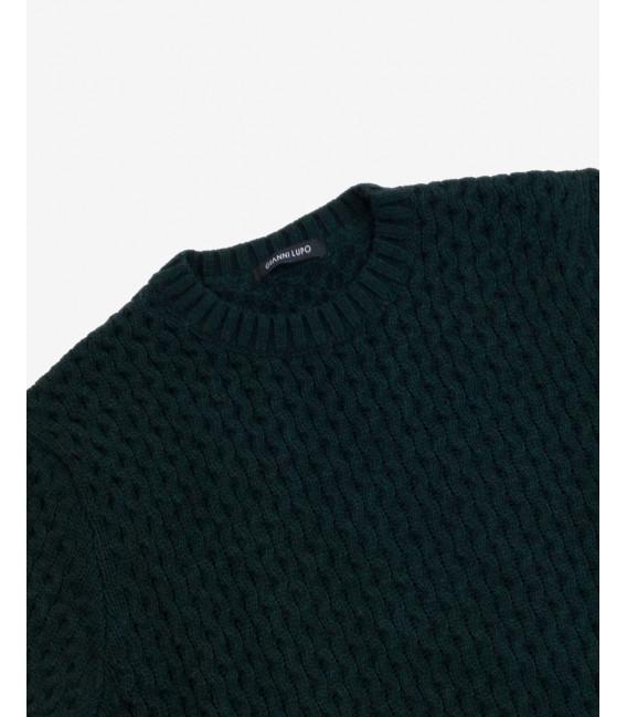 Wool blend knitted sweatwer in petrol