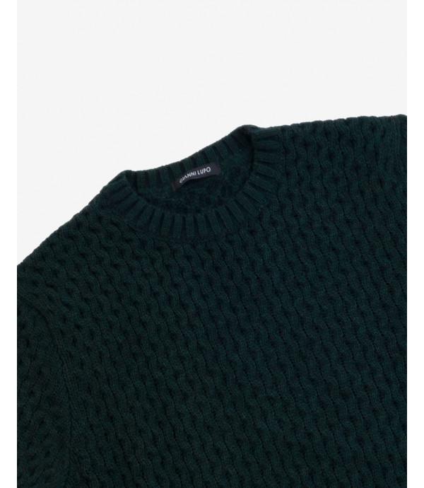 Maglione lavorato in misto lana petrolio