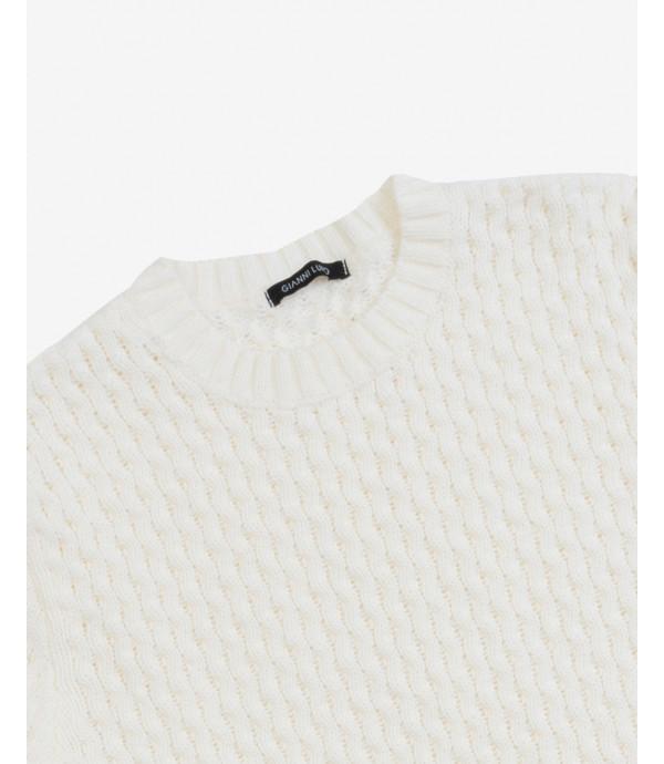 Maglione lavorato in misto lana crema