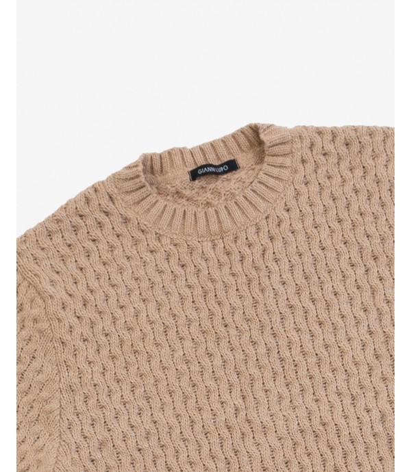 Maglione lavorato in misto lana cammello