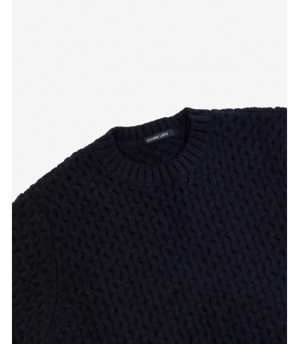 Maglione lavorato in misto lana blu
