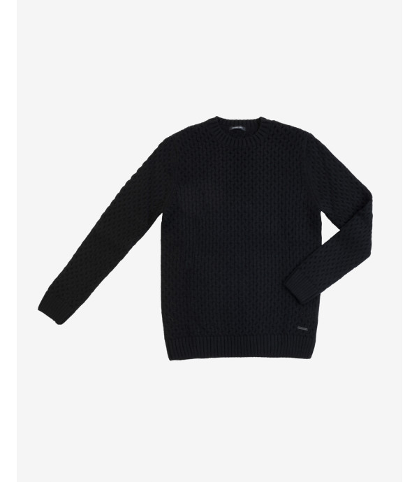 Maglione lavorato in misto lana nero