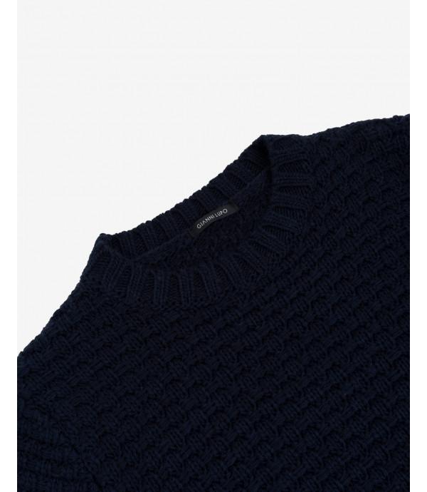 Maglione lavorato a intreccio blu