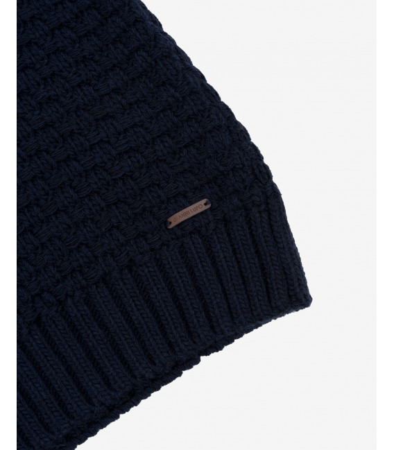 Textured knitted jumper in blue