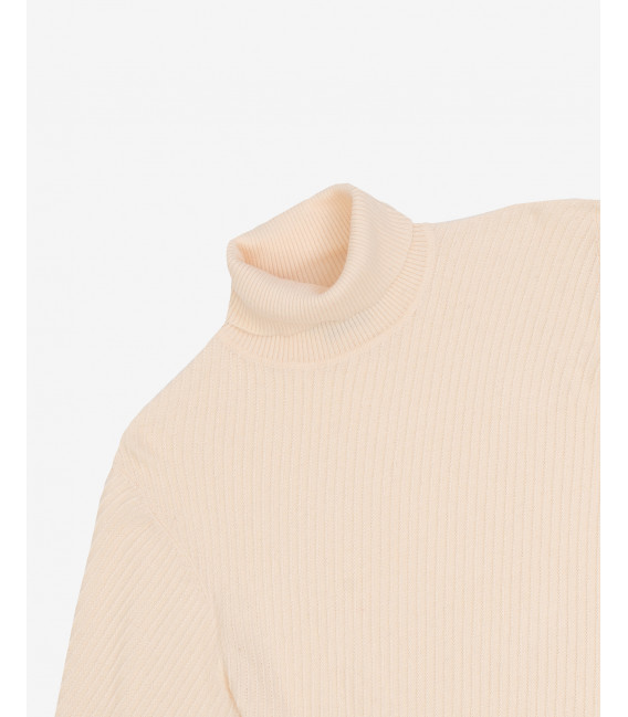Patterned turtleneck sweater in cream