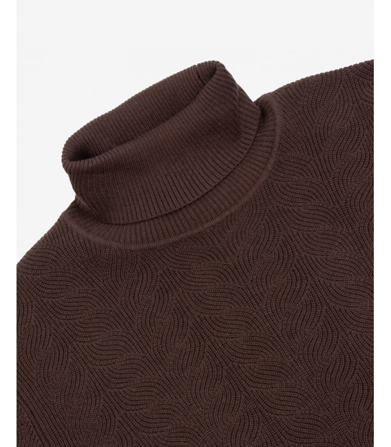 Cable knit turtleneck sweater in coffee