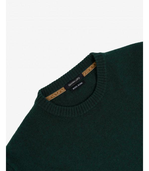 Maglione girocollo misto cashmere verde