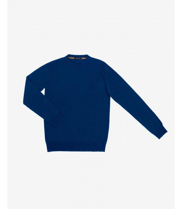 Maglione girocollo misto cashmere blu