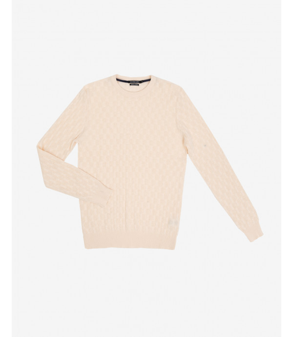 Maglione girocollo lavorato crema