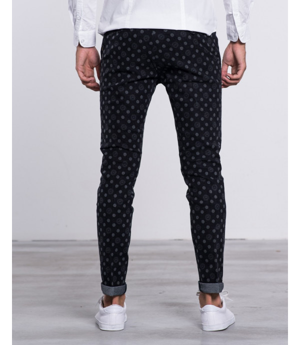 Pantaloni in flanella con stampa a bottoni