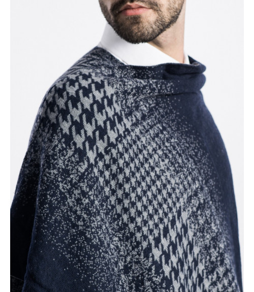 Poncho in pied dePoncho In Fading Pied De Poule Patternoul in dissolvenza