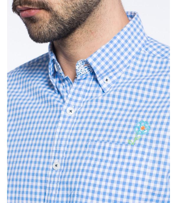 Camicia button-down a quadri con taschino in puro cotone
