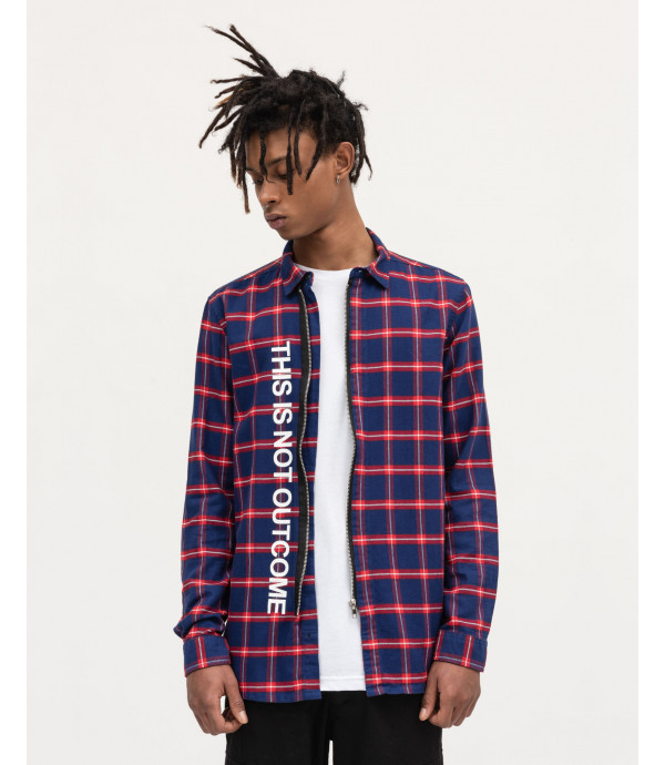Checked overshirt with zip and OUTCOME print
