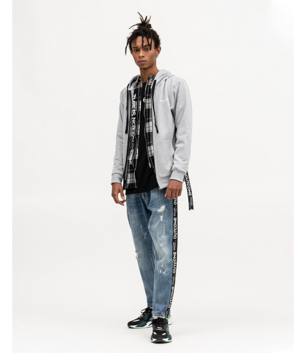 Black and white checked overshirt with zip
