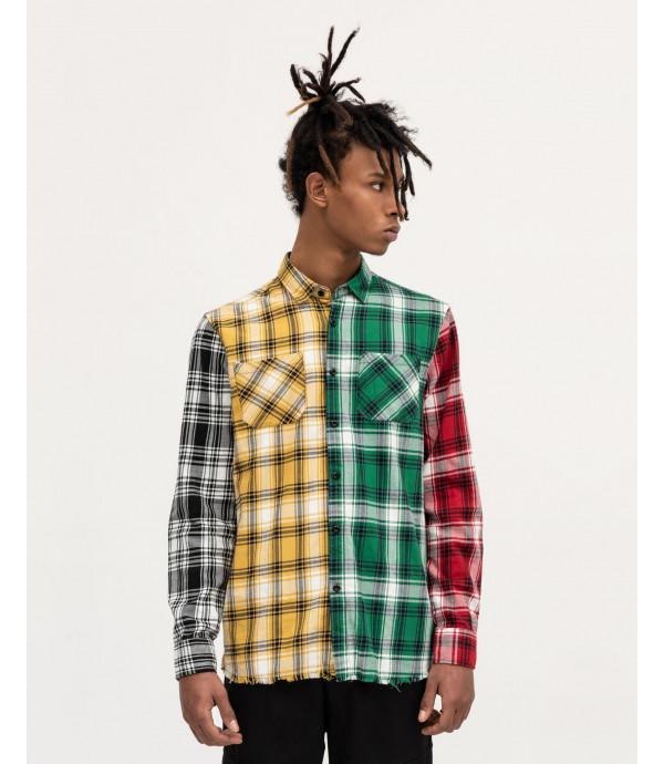 Checked overshirt in fabric blocks