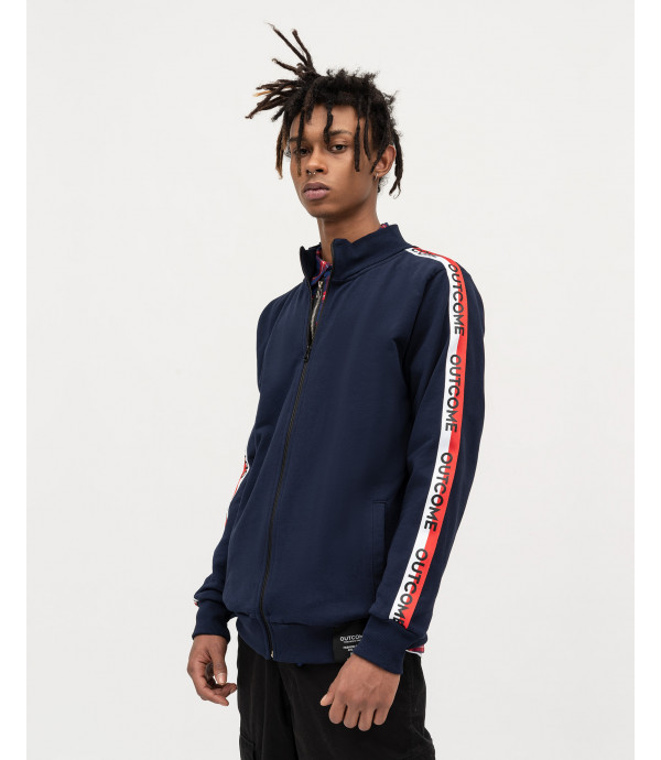 Blue zip sweatshirt with OUTCOME stripes