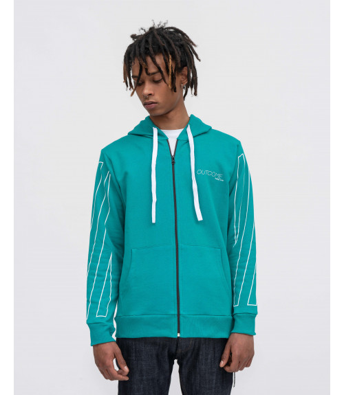 Zip hoodie with OUTCOME print in emerald