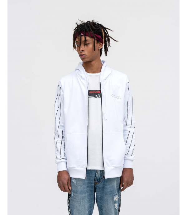 Zip hoodie with OUTCOME print in white