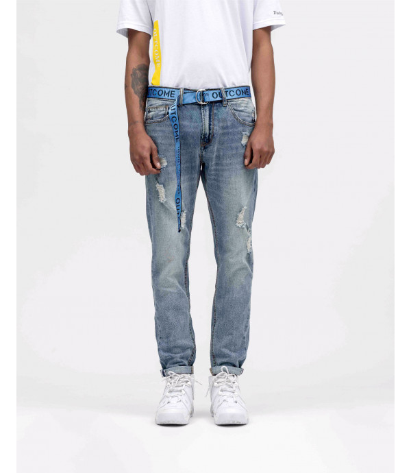 Regular fit jeans with rips with belt