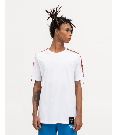 T-shirt with OUTCOME stripes