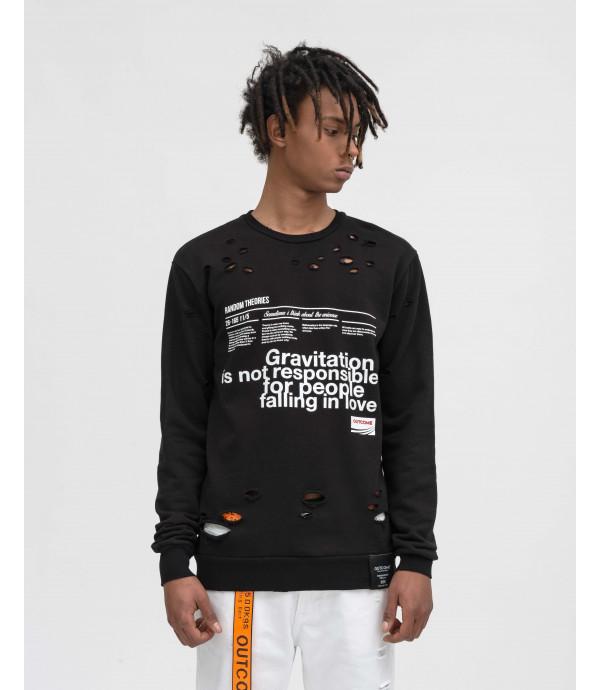 OUTCOME print sweatshirt with rips