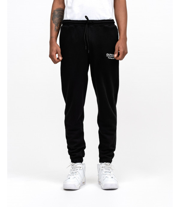 Black joggers with OUTCOME print