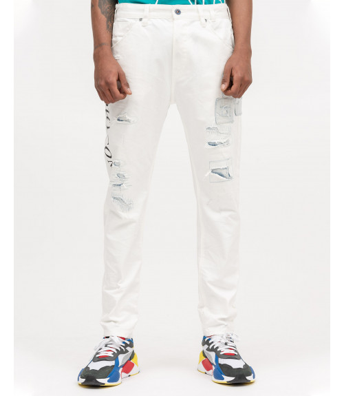 White denim with prints and mends