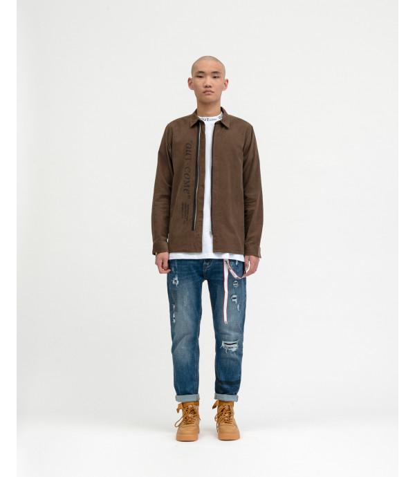 Overshirt OUTCOME in velluto con stampa e zip
