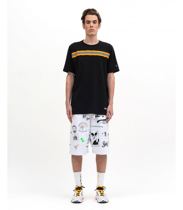Sport shorts with graffiti print