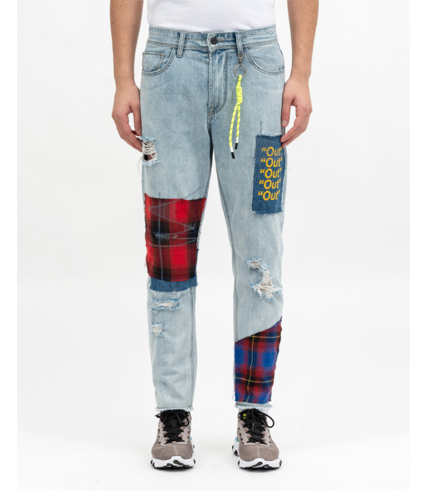 Carrot fit jeans with patch