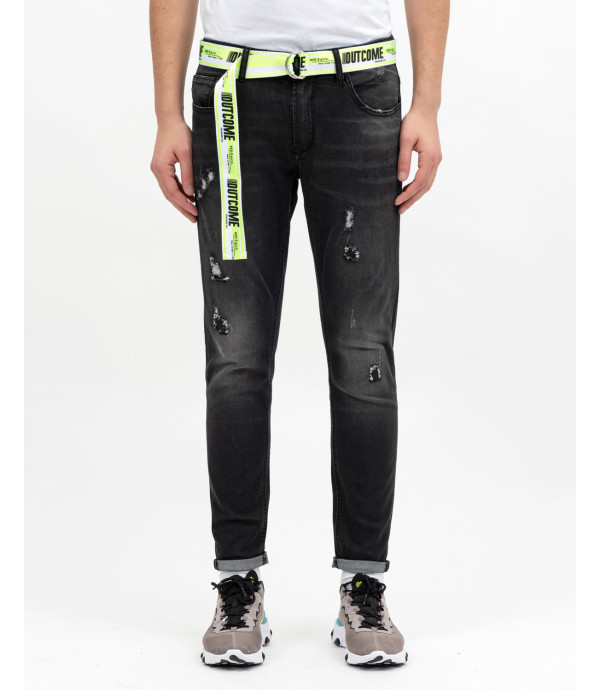 Skinny fit Jeans, faded and ripped effect