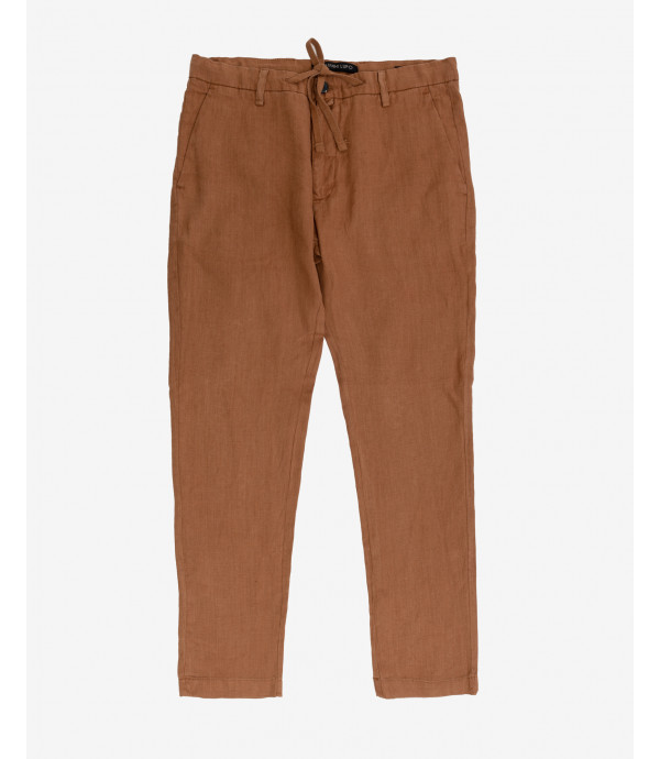 Linen trousers with drawstrings