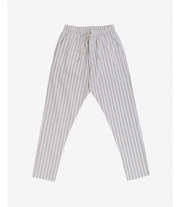 Striped trousers with elastic waist