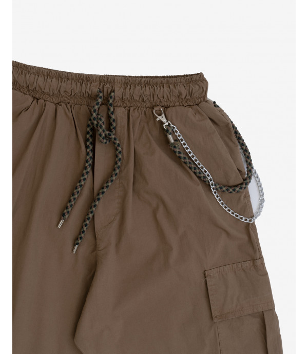 Drawstring cargo trousers with chain