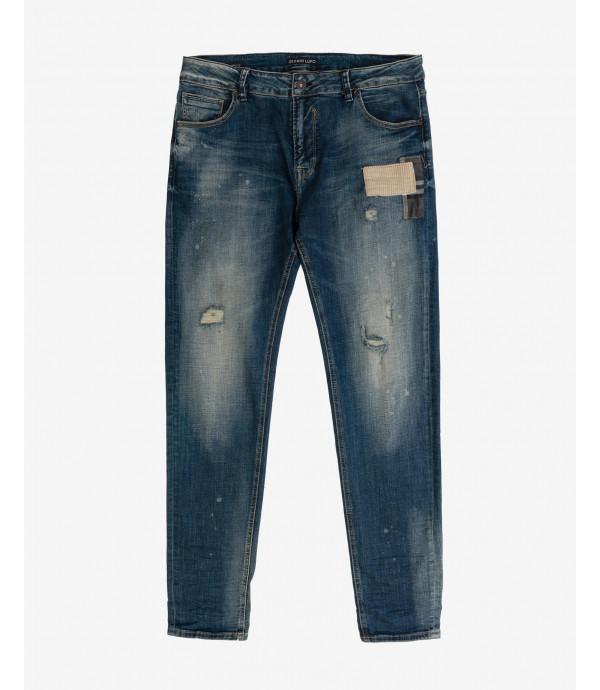 Kevin skinny fit medium wash distressed jeans
