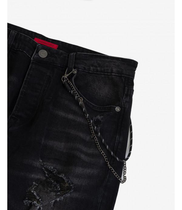 Jeans Mike carrot crop fit nero con strappi evidenti
