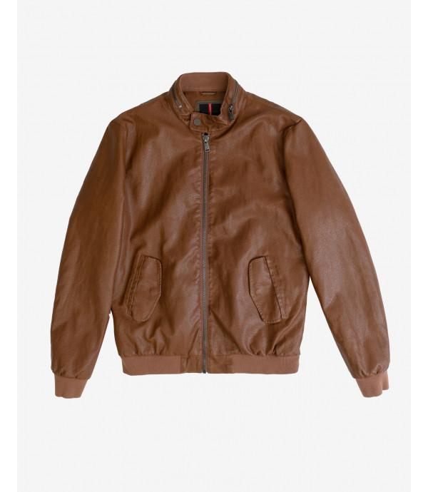 Faux-leather bomber jacket