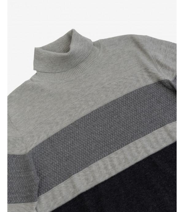 Colour block turtleneck jumper