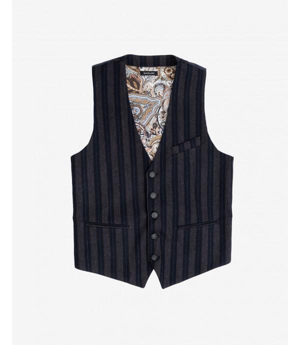 Striped wool mix waistcoat