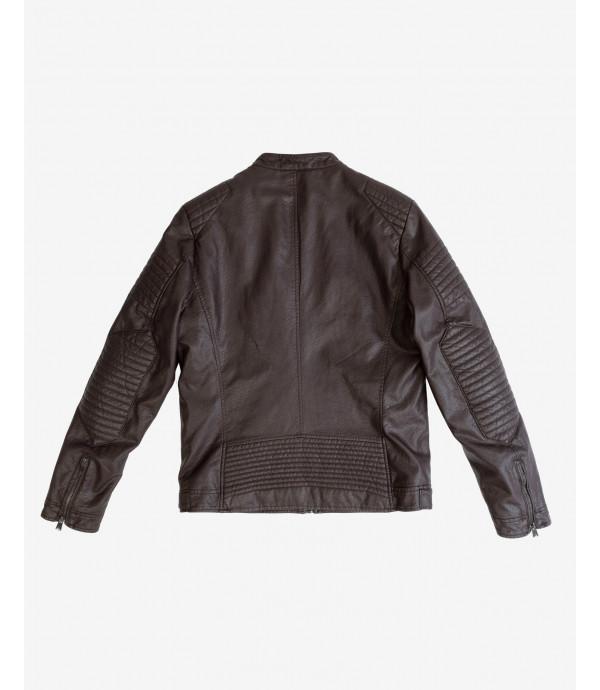Biker faux-leather jacket