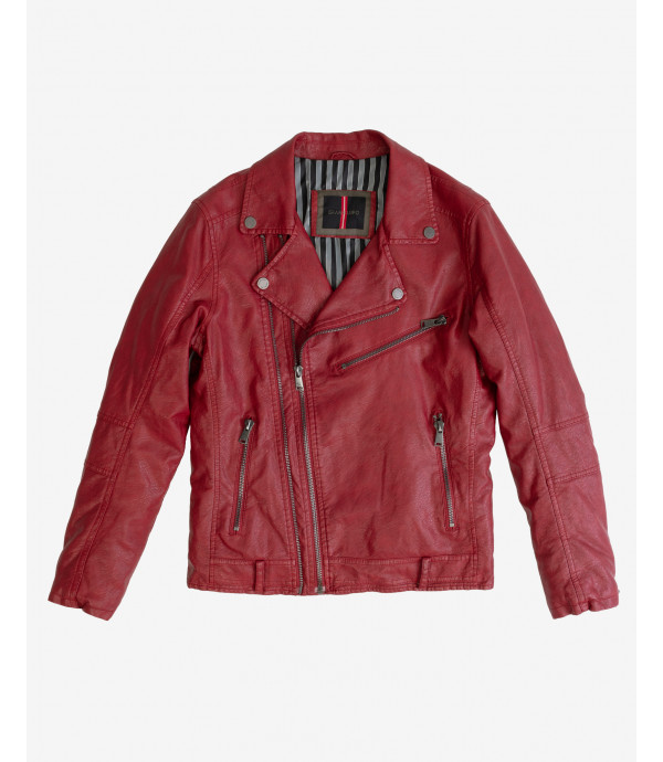 Faux-leather jacket with padding