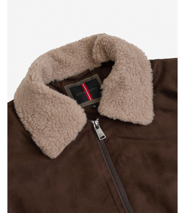 Aviator style faux-suede jacket