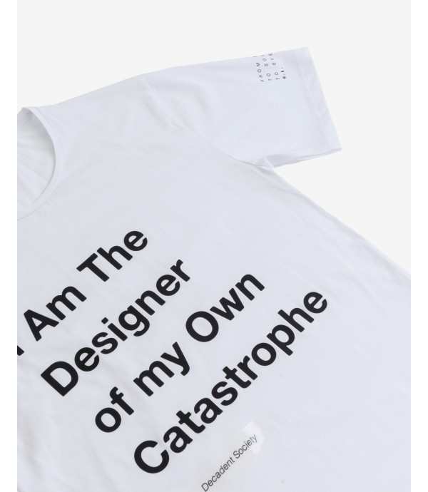 T-shirt with applied lettering
