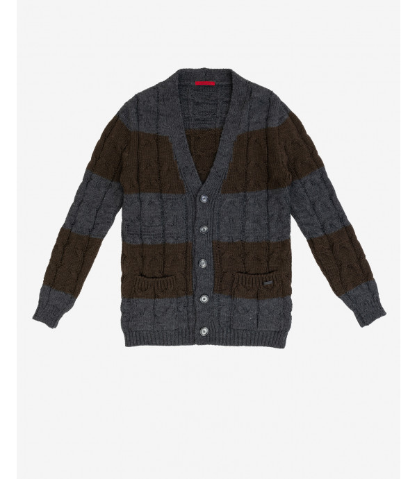 Cable knit cardigan with stripes