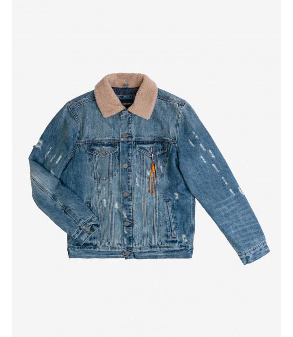 Padded denim jacket sherpa collar