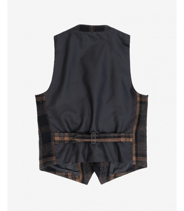 Wool mix checked waistcoat