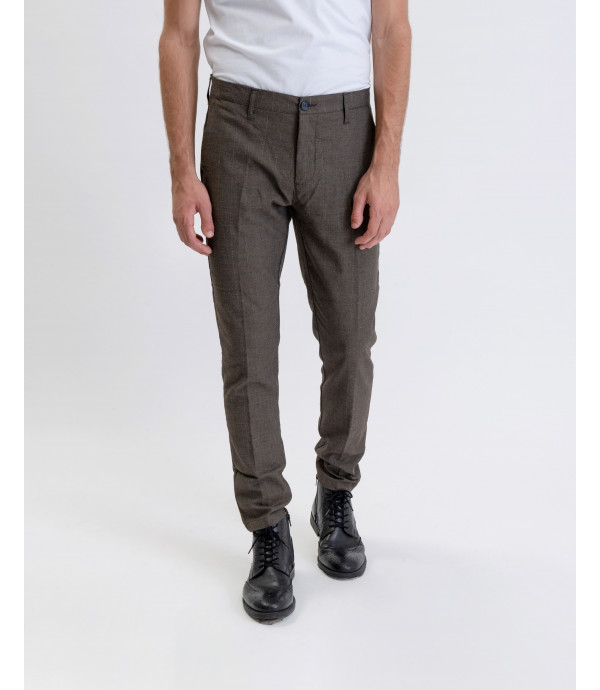 Slim fit checked trousers